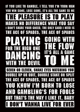 Ace Of Spades Motorhead Song Lyrics Poster | Magik City
