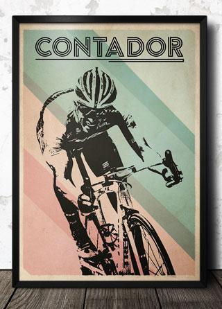 Alberto Contador Retro Cycling Art Poster Magik City